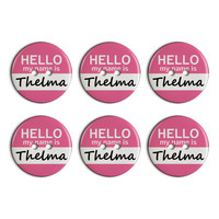 Thelma Hello My Name Is Plastic Resin Button Set of 6