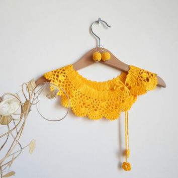 Collar Necklace, Crochet Peter Pan Collar Necklace,Orange, Lemon zest, ready to shipping, crochet earring.