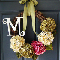 Hydrangea Door Wreath - Monogram Personalized Wreath - Rustic Wreath - Complementary UV Resistant Wreath Coating Upgrade & Wreath Hanger