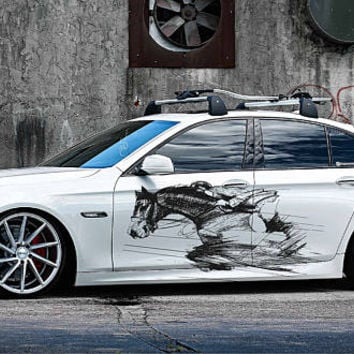 jockey car hood decal horse Car Decals horse Car Truck horse Side Body Graphics Decal horse Sticker for car kikcar48