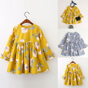 Toddler Kids Baby Girl Clothes Long Sleeve Floral Bowknot Party Princess Dresses