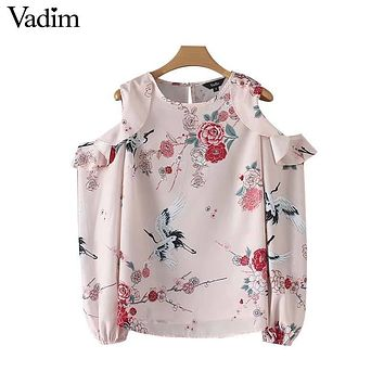 Vadim women sexy off shoulder floral shirt cut out Crane printed blouse ladies fashion casual wear tops blusas mujer LT2572