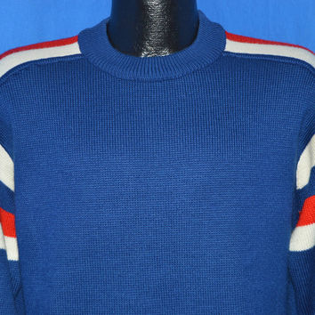 70s Blue Striped Pullover Sweater Large