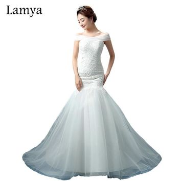 LAMYA Lace Mermaid Vestido De Noiva 2018 Sweatheart Court Train Wedding Dress Fashionable Romantic Bridal Gown WD3082