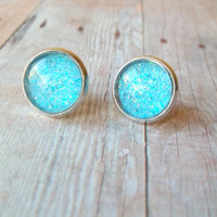 T U R Q U O I S E - Turquoise Teal Blue Glitter Sparkle Photo Glass Cab Circle Silver Plated Post Stud Earrings