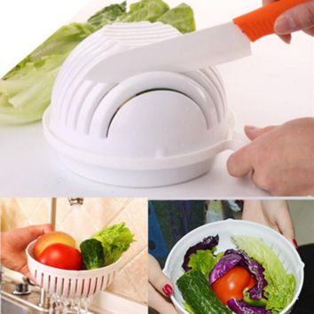 60 Second Salad Cutter Bowl Easy Salad Fruit Vegetable Chopper Washer
