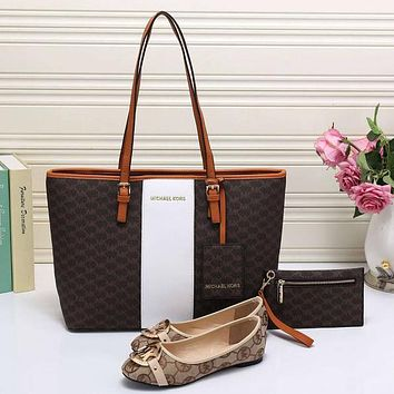 Perfect MK Women Leather Tote Satchel Crossbody Handbag Shoes Wallet Three Piece Suit