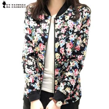 Plus Size 3XL Spring Autumn Fashion Baseball Floral Jacket Women Ditsy Print Zipper Varsity Outwear Woman Clothes C55302