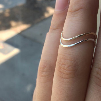 Set of 2 Mixed Metal Wavy Chevron Stacking Rings, Sterling Silver and 14k Yellow or Rose Gold Fill, custom made to order