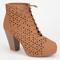 Bamboo Huxley Womens Booties Cognac  In Sizes