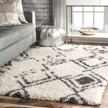 "nuLOOM White Modern Ombre Diamond Trellis Area Shag Rug - 9' 2"" x 12' 