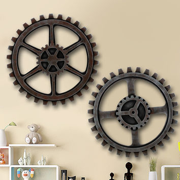 Home Decorations Antique Wheel Gear Shaped Wooden Ornaments Vintage Living Room Bar Club Wall Hanging Plates