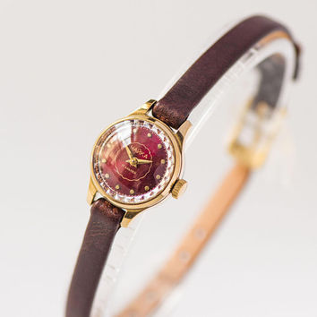 Vintage watch for women dark burgundy face jewlery, gold plated lady watch Seagull, micro watch classic women gift genuine leather strap new