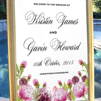 Watercolor Floral Welcome Wedding Sign Hashtag Digital Printable Customized Wedding decor poster print wedding welcome Wedding decoration