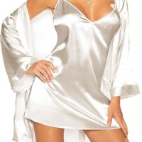 Sexy Lingerie Sleepwear Set - White Charmeuse Babydoll and Robe