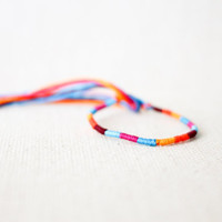 Friendship Bracelet Orange Magenta Turquoise and Burgundy Embroidery Threads / Stocking Stuffer