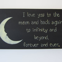 Hand Painted Wooden Black Primitive Sign I love you by kimgilbert3