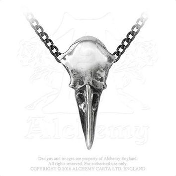 Great Black Bird Raven's Skull Necklace By Alchemy Gothic