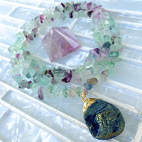 Teal Blue Druzy Pendant on Flourite Crystal Chip Necklace | Electroplated in 24K Gold | Druzy Geode Pendant, Druzy Jewelry Blue Green Druzy