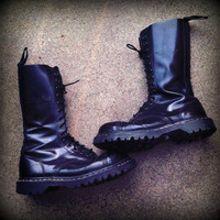 Vintage Gripfast Steel Toe Black Leather Combat Boots Womens Size 8