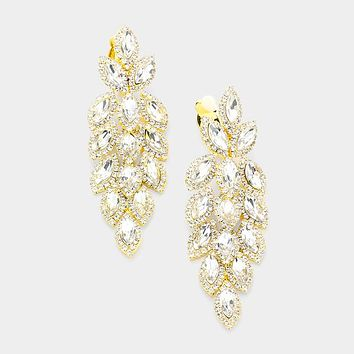 Marquise Crystal Oval Cluster Vine Clip On Earrings