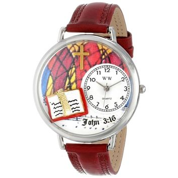 SheilaShrubs.com: Unisex John 3:16 Burgundy Leather Watch U-0710002 by Whimsical Watches: Watches