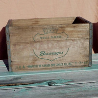 Vintage Wood Crate, Canada Dry Rustic Wooden Box with Metal Banding, Country, Farmhouse Decor, Storage