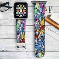 Winnie The Pooh Stained Glass Custom Apple Watch Band Leather Strap Wrist Band Replacement 38mm 42mm