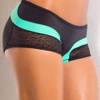 Vertical Vixen Rainbow Scrunch Back,Mint Workout Shorts