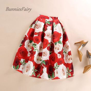 BunniesFairy 2017 New Female Sweet Romantic Rose Flower Floral Print High Waist Pleated Midi Skirt Flared Tutu Skater Skirt Saia