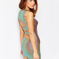 ASOS PETITE Irridescent Foil Cut Out Back Mini Bodycon Dress