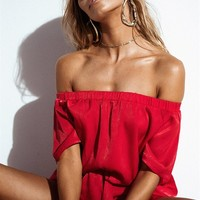 Mackenzie Slip Playsuit - Red - Playsuits by Sabo Skirt