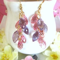 Pink Swarovski and Purple Amethyst Cluster Chandelier Earrings - Easter pink and purple chandelier earrings