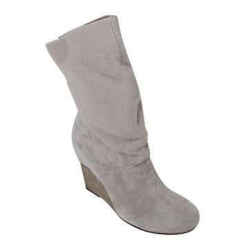 Suede & Flannel Wedge Ankle Boot