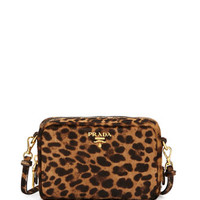 Prada Leopard-Print Calf Hair Mini Crossbody Bag
