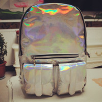 Mochila Masculina backpack Women Silver Hologram Laser Backpack