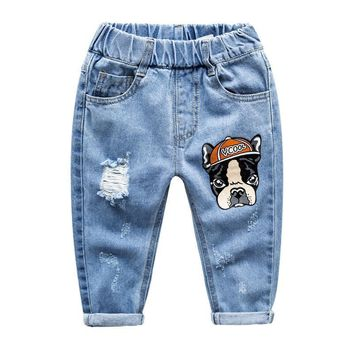 Seriously cute denim pants for children |  Baby clothes with Boston Terriers | unique kid jeans for boy or girl