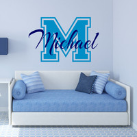 Letterman Wall Decal,  Name Wall Decal, Monogram Wall Decal, Sports Decor, Nursery Name Decal, Letterman Initial