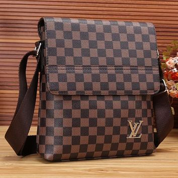 Boys & Men  LV Office Bag Leather Satchel Shoulder Bag Crossbody