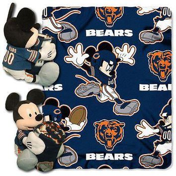 "CHICAGO BEARS 40""X50"" DISNEY MICKEY MOUSE HUGGER PILLOW & THROW BLANKET SET NEW"
