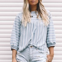 Follow The Lines Blue Striped Jersey Top