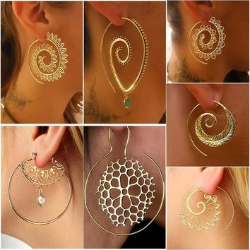Spiral Statement Hoop Earring Gold/Silver Plated Bohemian Earrings