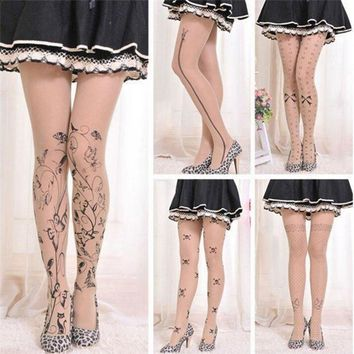 6 Styles Women Sexy Tattoo Tights Hosiery Cute Patterns Printed Pantyhose Ladies Gifts