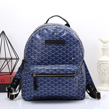 Goyard Women Leather Bookbag Shoulder Bag Handbag Backpack Blue