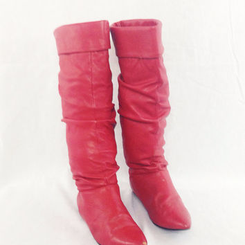 Vintage 80s GROOVE Red Knee High Crinkle Glam Rocker Punk Boots Sz 7