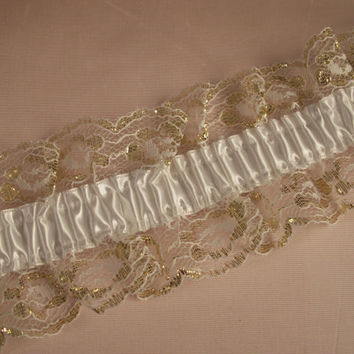 White and Gold Elastic Ruffled Lace with White Ribbon, Apparel, Lingerie, Lace for Garters, Bridal Accessories, Burlesque, Costumes