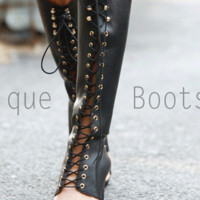Black Knee Length New Summer Lace Up Sandals = 4777249988