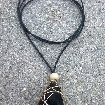 Raw Black Tourmaline Wire Wrapped Mineral Necklace || Black Stone Necklace || Rock Necklace || Wire Wrapped Stone || Healing Jewelry