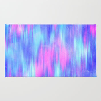 Aurora - Blur Abstract in Pink, Purple, Aqua & Royal Blue Rug by TigaTiga Artworks