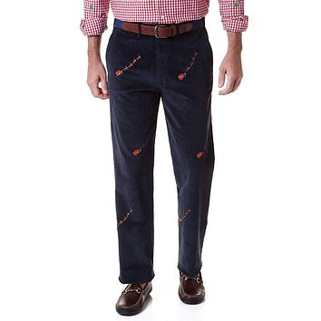 Beachcomber Corduroy Pant in Navy with Embroidered Santa Sleigh by Castaway Clothing - FINAL SALE